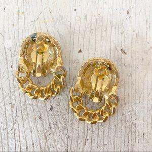 VIntage Jewelry - Vintage 80s Lion Chain Doorknocker Clip On Earring
